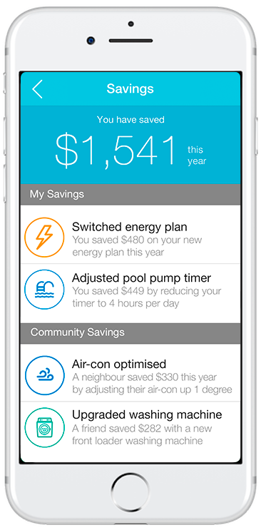 Wattcost app that shows how to share your savings achievements with the community.