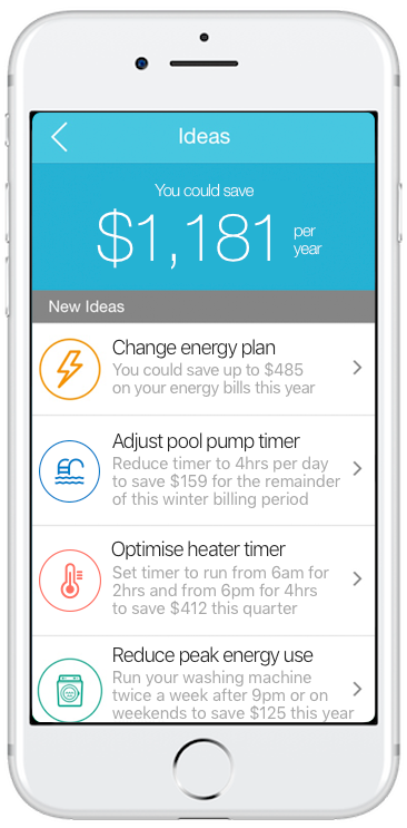 Wattcost App with the option to change energy plan, offset carbon or show energy savings tips.