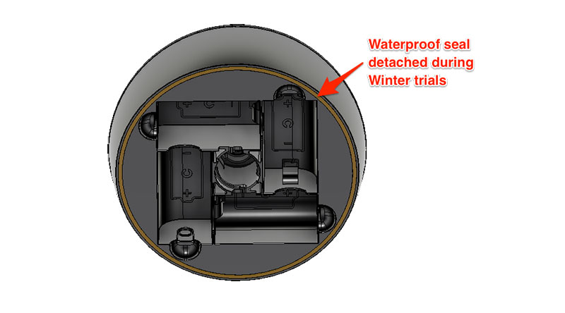 Image caption: View of underside of the battery housing highlighting the faulty seal.