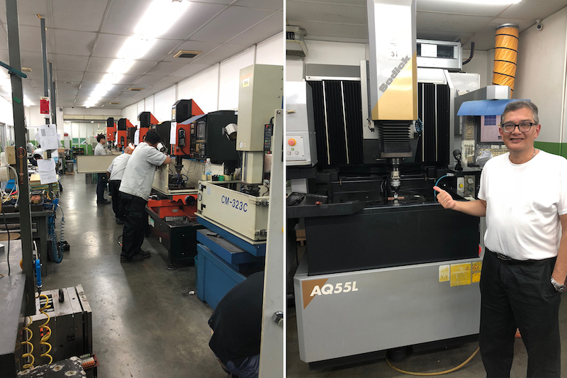 Image caption: Jerry inspecting the high-precision electrical discharge cutting machine at the new tool manufacturer in Penang