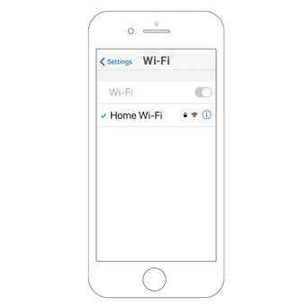 Smartphone outline that shows a list of Wi-Fi networks to connect.